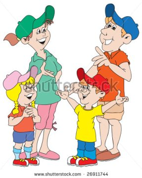 stock-vector-cartoon-art-of-a-family-mom-dad-boy-girl-planning-their-vacation-26911744