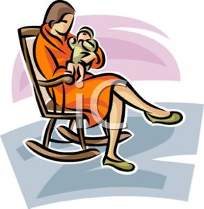 A_Colorful_Cartoon_Mother_Rocking_Her_Baby_In_a_Rocking_Chair_Royalty_Free_Clipart_Picture_101204-127068-703053