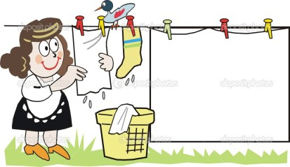 depositphotos_26907785-Cartoon-of-housewife-doing-domestic-tasks-hanging-up-laundry-with-bird-on-washing-line.