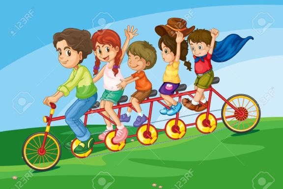 13376842-Cartoon-of-a-family-riding-on-a-long-bicycle-Stock-Vector-friends