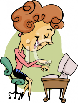 0511-0809-1916-1269_Cartoon_Woman_Typing_on_a_Computer_Clip_Art_clipart_image