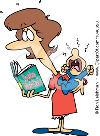1046620-Royalty-Free-RF-Clip-Art-Illustration-Of-A-Cartoon-New-Mom-Reading-A-Parenting-Book