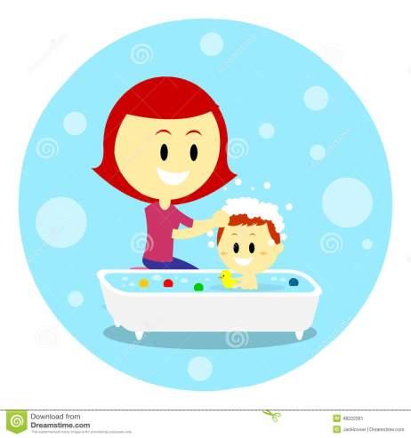 mom-bathing-her-baby-giving-bath-time-flat-cartoon-style-48222361