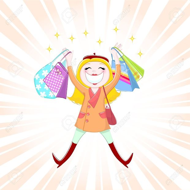 16511403-Happy-girl-shopping-Stock-Vector-cartoon