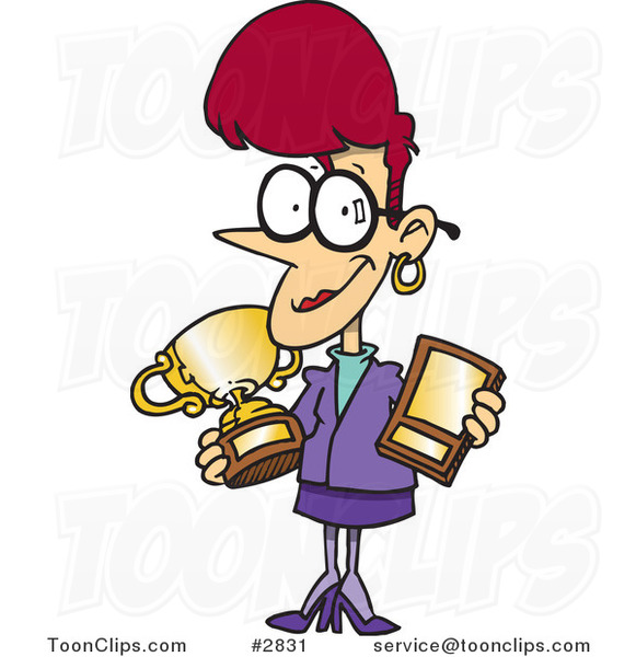 cartoon-proud-business-woman-showing-her-awards-by-ron-leishman-2831.jpg