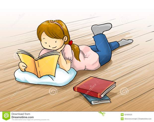girl-reading-book-cartoon-illustration-kid-lying-floor-beautiful-color-32400520