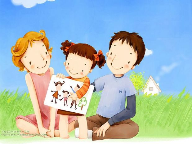 Lovely_illustration_little_girl_showing_family_drawing_to_parents_wallcoo.com.jpg
