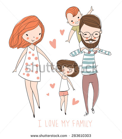 stock-vector-i-love-my-family-cute-vector-illustration-with-mother-father-son-daughter-happy-parents-and-283610303