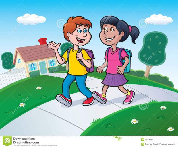 two-kids-walking-to-school-backpacks-cartoon-illustration-boy-girl-talking-45894147
