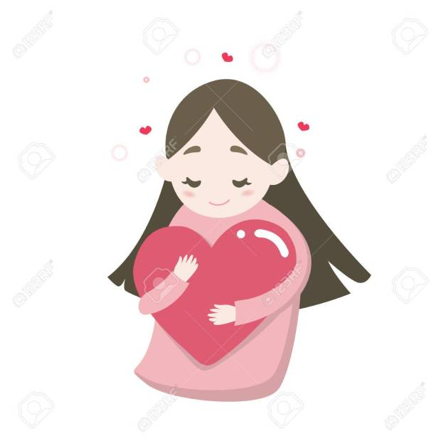 Happy cute girl's hugging heart with love feeling, vector cartoon illustration