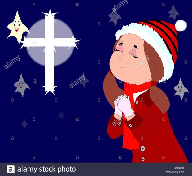 christmas-greeting-card-with-a-little-girl-praying-to-god-BXHD3H
