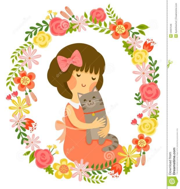 girl-cat-cartoon-hugging-vintage-style-floral-frame-53937546