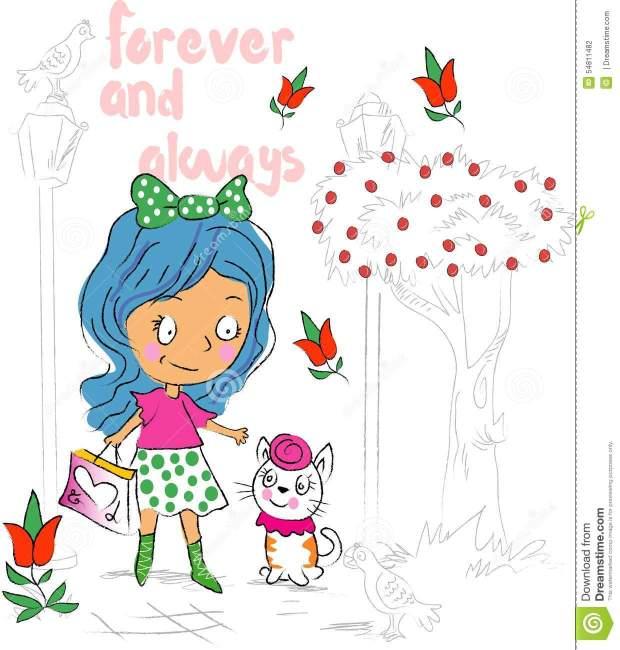 sweet-cute-girl-cat-cartoon-outdoor-walking-54811482